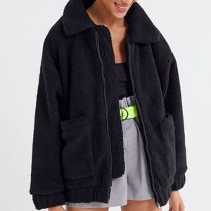 I.AM.GIA Black Lined Pixie Sherpa Zip-Front Coat L